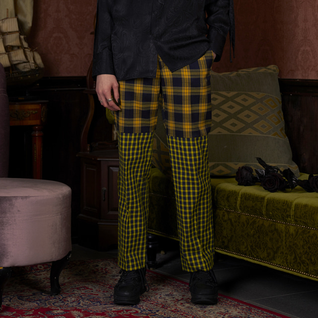 쎄르페Unisex Yellow Check Mixed Pants 체크 면바지