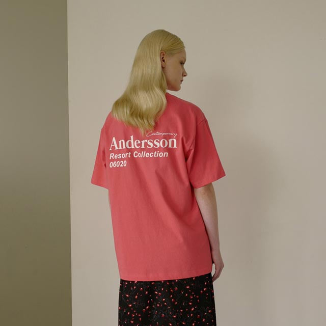 앤더슨벨UNISEX ANDERSSON RESORT COLLECTION T-SHIRT atb316u PALE 핑크반팔 반팔티